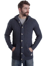 Wemoto - Camp Dressblue Melange - Hooded Cardigan