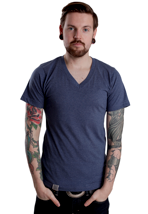 Wemoto - Perry II Darkblue Melange - V Neck T-Shirt