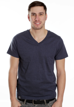 Wemoto - Perry Darkblue Melange - V Neck T-Shirt