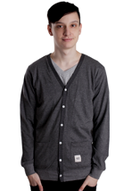 Wemoto - Simple Black Melange/Dark Heather Microstriped - Cardigan