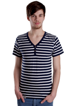 Wemoto - Smith Blue/White Blockstriped Henley - T-Shirt