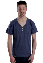 Wemoto - Smith Darkblue Melange Henley - T-Shirt